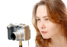 The girl in the camera Royalty Free Stock Photo