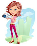 Girl with camera. Illustration of a girl taking a movie with digital video camera vector illustration