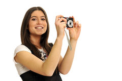 Girl and camera Royalty Free Stock Image