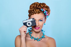 Girl with camera royalty free stock images