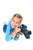 Girl with a camera big lens. Stock Image