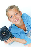 Girl with a camera big lens. Royalty Free Stock Images