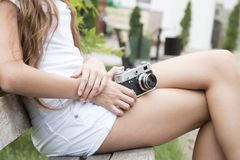 Girl, Camera, Old, Retro, Holds Stock Images