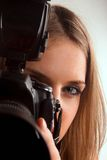 Girl with camera. Royalty Free Stock Photo