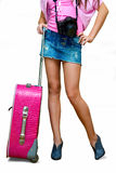 Girl with camera and suitcase Stock Photography