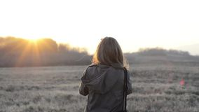 Girl with camera sunrise stock video footage