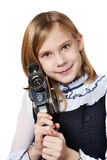 Girl cameraman with retro camera Royalty Free Stock Photos