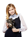 Girl cameraman with retro camera Stock Photos