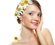 Girl with camomile Royalty Free Stock Image