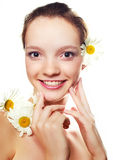 Girl with camomile Royalty Free Stock Photos