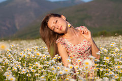 Girl on camomile field Stock Image