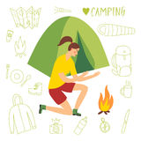 Girl camper sitting near the tent and fire. Cartoon traveler camper girl sitting near the tent and fire. Including doodle drawings as map, flashlight, camera Royalty Free Stock Image
