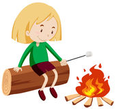 Girl at the campfire Royalty Free Stock Images