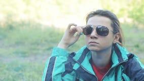 Girl campfire stock video
