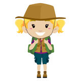 Girl in camping costume Royalty Free Stock Photography