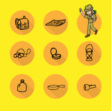 Girl camping icons set. Girl and camping set cartoon icons Stock Images