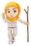 Girl in camping suit with walking stick Stock Image