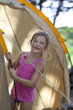 Girl on camping vacation Royalty Free Stock Photos