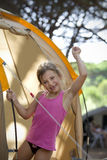 Girl on camping vacation Royalty Free Stock Photo