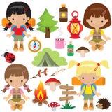 Girl camping vector illustration Royalty Free Stock Image