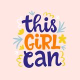 This girl can hand lettering vector design stock illustration