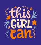 This girl can hand lettering vector design royalty free illustration