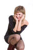 A girl can not stop to laugh Royalty Free Stock Photos
