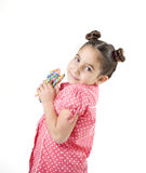 Girl with candies Royalty Free Stock Photography