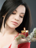 Girl with candle Royalty Free Stock Photos