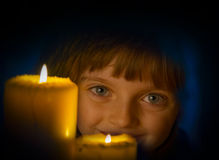 Girl with candle - christmas Royalty Free Stock Image