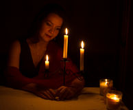 The girl with candles_2 Royalty Free Stock Images