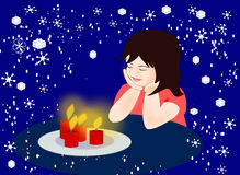 Girl with Candles Stock Photos