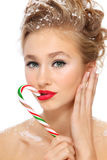 Girl with candy cane Stock Photo