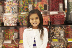Girl At Candy Counter In Supermarket Stock Image
