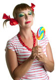 Girl with candy Royalty Free Stock Photography