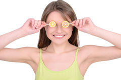 Girl and Candy Stock Images