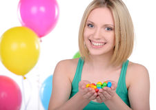 Girl and Candy Royalty Free Stock Photo