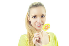 Girl with candy Royalty Free Stock Images