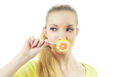 Girl with candy Stock Photos