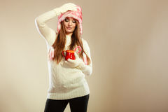 Girl with cane in xmas mug. Stock Images