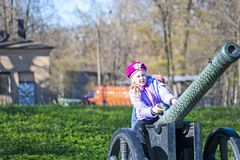 Girl and Cannon Royalty Free Stock Images
