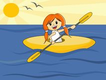 Girl in Canoe. Cute cartoon girl in canoe Stock Photography