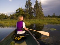 Girl Canoeing Royalty Free Stock Photos