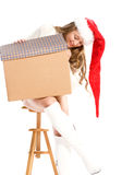 Girl in Canta Hat  with a gift Stock Image