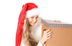 Girl in Canta Hat  with a gift Stock Photos