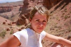 Girl in canyon Royalty Free Stock Photos