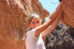 Girl in canyon Royalty Free Stock Image