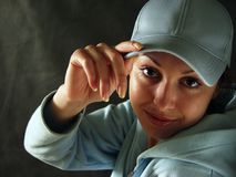 Girl in a cap - 6. Illustration for magazine about family Royalty Free Stock Photography