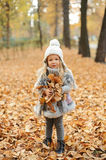 Girl in a cap and autumn leaves standing in autumn park in the evening. Girl in a cute cap and autumn leaves standing in autumn park in the evening Royalty Free Stock Image