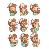 Girl In Cap, Choker And Blue Top Collection Of Hand Drawn Emoji Cool Outlined Portraits. Set Of Funky Flat Vector Stickers With Teenager Different Emotional Stock Photos